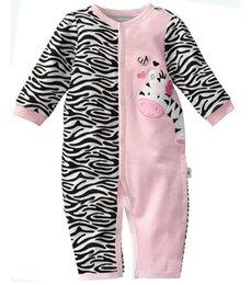 Wholesale Pijamas ropa de bebé recién nacido ropa de noche primeros momentos al por menor de los mamelucos del bebé de la cebra del bebé de una sola pieza del mameluco W121