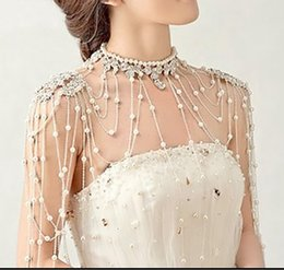 Wholesale 2014 New fashion bride jewelry Luxury tassel pearl flower shoulder chain diamond necklace epaulets Wedding dress accessories yzs168