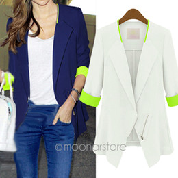 Wholesale Womens Coat Slim Loose Ladies Blazer New With Zipper Jacket Suit White Blue Casual Plus Size E3037