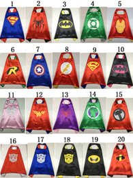 Wholesale 2015 Set Superhero Cape Mask L70 W70CM Double Side batman superman cape mask Reversible Superhero Cape Super Hero cape and mask set
