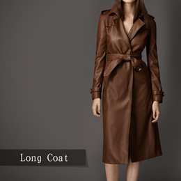 Brown Leather Trench Coat Women Online | Brown Leather Trench Coat