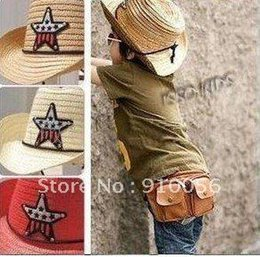 Wholesale 60 Children s Western Cowboy Costume Star Mark Straw Hats Baby Summer Sunshade Hat Kid s hat
