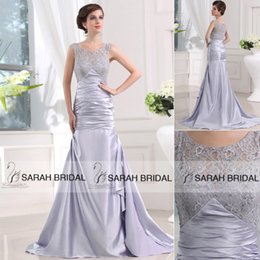 Wholesale 2015 Vintage Silver Mermaid Wedding Dresses Cheap Lace Custom Made Sheer Evening Gowns Sweep Train Dress for Groom Mother Formal Dress Pleat
