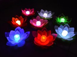 Wholesale 200pcs New Arrive LED Lotus Lamp in Colorful Changed Floating Water Pool Wishing Light Lamps Lanterns for Party Decoration