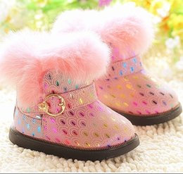 Wholesale Winter Toddler Baby Snow Boots High Quality Small Kids Shoes The Peacock Print Real Cow Leather Rabbit Hair Fit Age Children Boots TR14