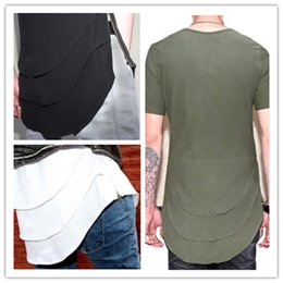 Wholesale Man T shirt Europe and the United States new personalized fish multi fold curved hem zipper extended short sleeved T shirt shirt male TEE