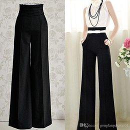 Wholesale Women Sexy Fashion Casual High Waist Flare Wide Leg Long Pants Palazzo Trousers