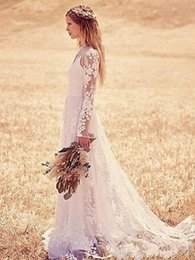 Wholesale 2015Lace Wedding Dress Boho Long Sleeves Sheer Crew Neckline Illusion Top Bow Sash Sweep Train Country Style Bridal Gowns Fall Custom Made