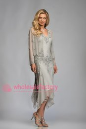 Wholesale 2016 Silver Mother of the Bride Dresses with Long Sleeve Jacket Sexy V Neck Crystal Tea Length Chiffon Wedding Guest Dress Evening Gowns