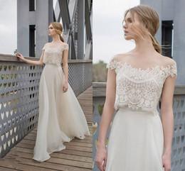 Wholesale Two Piece BOHO Wedding Dresses Lace Appliques Bodice Illusion Neckline Chiffon A Line Romantic Bohemian Bridal Dresses Summer
