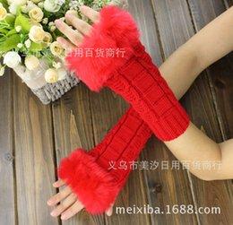 Wholesale Brand Winter Warm Imitation Rabbit Faux Fur Women Gloves Knitted Patchwork Waist Gloves half Finger Gloves LSUS