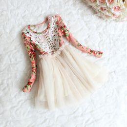 Wholesale Korean children clothing babies clothes lace collar flower girls tutu skirts girls christmas dresses veil dresses for girls kids clothes