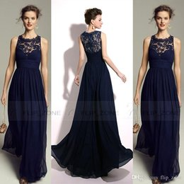 Wholesale Vintage Royal Blue Sheer Jewel Neck Party Dresses for Beach Wedding with Lace Chiffon Cheap Red Carpet Evening Prom Bridesmaid Gowns