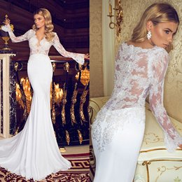 Wholesale Custom Fitted Bridal Wedding Dresses V Neck Beaded Appliques Poet Lace Long Sleeve Sheer Open Back Mermaid Gowns Summer Bridal Dresses