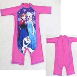 Wholesale DHL free summer Children baby girl Cartoon Princesses Anna Elsa One Piece Swimsuit Cute Baby Swimwear Kids baby girl Surfing Suits