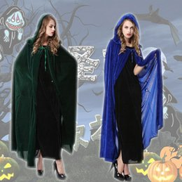 Wholesale Unisex Classic Full Length Halloween Costumes Cosplay Stage Witch Elf Hooded Cloak Cape