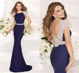 Wholesale 2016 New Fashion Spandex Tarik Ediz Formal Evening Gowns Sexy Illusion Crystals Rhinestone Backless Mermaid Vintage Pageant Prom Dresses