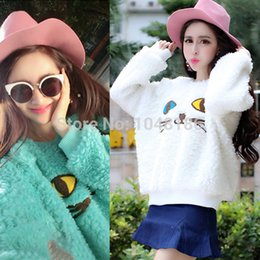 Wholesale Casual Womens Batwing Sleeve Sweater Hairy Jumper Pullover Cat Print