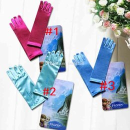 Wholesale 2015 Frozen Elsa Anna Princess Gloves Baby Girls Color Gloves Kids Cartoon Silk Fabric Gloves Children Fashion Gloves FS GD426