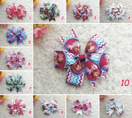 Wholesale 100pcs quot kid Baby Girl sofia Snow White princess tinkerbell Monster High frozen Elsa ribbon hair bow flower clip accessories