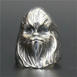 1pc free shipping new long beard skull ring 316l stainless steel man boy fashion personal design old man ring - Old Wedding Rings