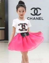 Wholesale Drill Double C Printed Gauze Tiered Ruffly Bowknot Sashes Kid Girls Dress Fashion Soft Casual Grace Princess Candy Colors N1533