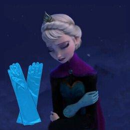 Wholesale Frozen Princess Elsa Long Blue Gloves Full Finger Kids Children Girl Glove Cartoon Party Costume Winter Warm Mittens Free UPS Factory Price