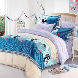 cotton home textile bedding set denim style Double quilt bedspread solid  bed sheet duvet cover shipping free Warmth New
