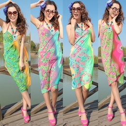 Wholesale 2015 Sexy Summer Chiffon Sarong Beach Fashion Swimwear Bikini Cover Up Dress Pareo Bikini Wrap Dresses Women Batik Sarongs Styles Cheapest