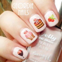 Wholesale Sweety Strawberry Cakes Pattern Nail Art Water Decals Transfers Sticker