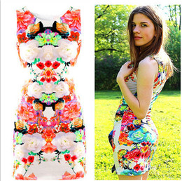 Wholesale Women Vintage Retro flower casual dresses designs thin sleeveless floral party dresses for women summer