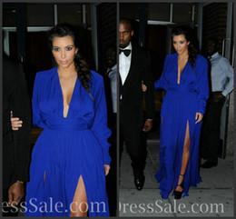 Wholesale Royal Blue Chiffon Deep V Neck Long Sleeve Sexy Evening Dress Kim Kardashian RED Carpet Celebrity Dress Elegant Prom Gowns