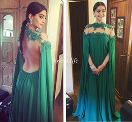 Wholesale Backless Evening Dresses Sheer High Collar Lace Sequins with Cloak Chiffon Cheap Sonam Kapoor Celebrity Party Dresses Arabic Prom Gowns