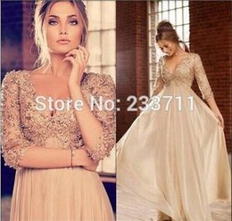 Wholesale Elie Saab vintage V neck long sleeve Plus Size Prom Dresses beading ruched Floor Length Ruffles Empire evening dresses Party Gowns