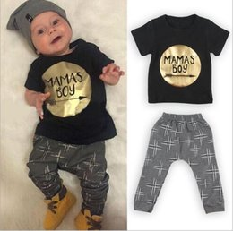 Wholesale 2pcs Newborn Infant Baby Boys Kids Fashion Clothes Sets baby T shirt Tops Long Pants Outfits Sets M hight quality