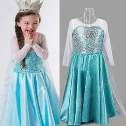 Wholesale Girls Blue Costume Princess Snow Queen Cosplay Tulle Fancy Long Dress SV005856