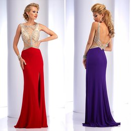 Wholesale Sexy Illusion Prom Dresses Mermaid Jewel Open Back Beaded Pageant Gowns Split Side Dresses For Teens Floor Length Custom Made