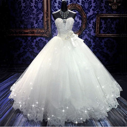 Wholesale 2016 High Quality Real Photoes Bling Bling Crystal Wedding Dresses Back Bandage Tulle Appliques Floor Length Ball Gown Wedding Gowns