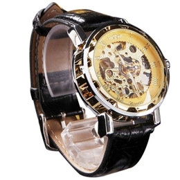 discount best army watches 2017 best army watches on at best deal men s classic black leather gold dial skeleton mechanical sport army wrist watch 1pc
