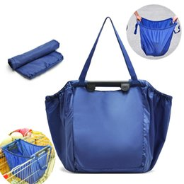 Wholesale Newest Shopping Grocery Bag For Supermarket Trolleys Carrier Bag Shopping Bag Reusable Trolleys handled Folding Shopping Bag DHL Fedex Free