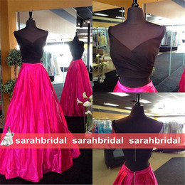 Wholesale 2016 Two Pieces Prom Party Evening Dresses with Black Off the Shoulder Crop Top Pockets Fuchsia Skirt Fashion Formal Wear Custom Made Gowns