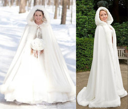 Wholesale 2015 Plus size Winter Bridal Cape Faux Fur Christmas Cloaks Jackets Hooded Perfect For Winter Wedding Bridal Wraps Abaya Wedding Dresses