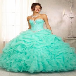 Wholesale 2015 In stock Ruffled Lime Green Organza Quinceanera Dress for years masquerade vestido debutante Cheap Lace up Prom Gown