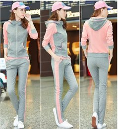 Wholesale Women Girl s Hooded Tracksuits Zipper Sport suits Casual Slinky Yoga wear Autumn Clothes Panelled Sweat suits for Women