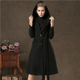 Wholesale 2015 high quality with a hood woolen outerwear single breasted overcoat woolen overcoat women fashion trench woolen coat