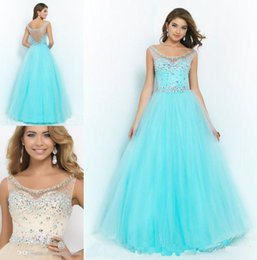 Wholesale 2015 Designer Aqua Cap Sleeves Prom Dresses Sheer Scoop Neck Beaded Crystals A line Evening Gowns Tulle Open Back Dress For Girls Party