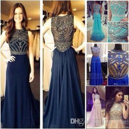 Wholesale Bling Crystal Real Photo Cheap Prom Dresses Sheer Neckline Short Sleeves Navy Blue Tulle Plus Size Arabic Evening Party Gowns BO5235