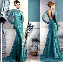 Wholesale 2015 Fashion Turquoise Lace Zuhair Murad Long Sleeved Evening Dresses Backless Sheer Neck Sheath Prom Party Gowns Dress For Womens