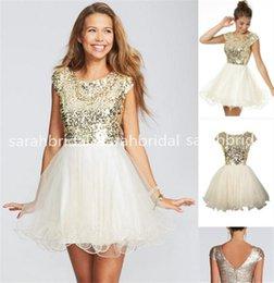 Wholesale 2015 barato menos de bonito lantejoulas de ouro de Curto Vestidos Homecoming vestidos de noite Cocktail Little White Ivory Tulle ª série vestidos de dança