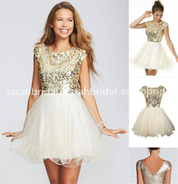 Wholesale 2015 Cheap Under Cute Gold Sequins Short Homecoming Dresses Evening Cocktail Gowns Little White Ivory Tulle th Grade Dance Dresses